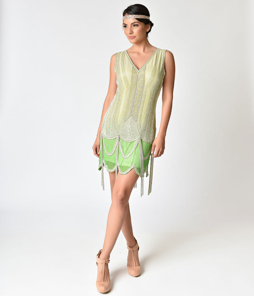 1920s Style Mint Ombre & Silver Beaded Silk Flapper Dress