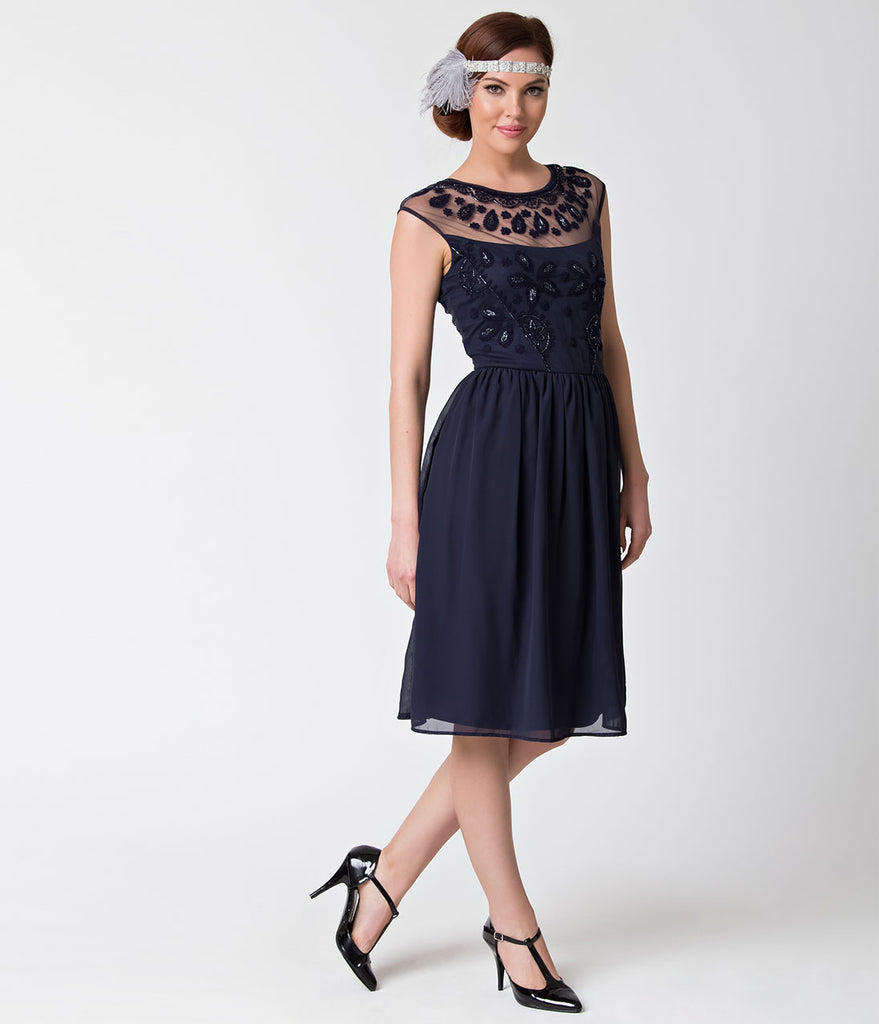 1920s Style Navy Blue Dorothy Chiffon Swing Flapper Dress