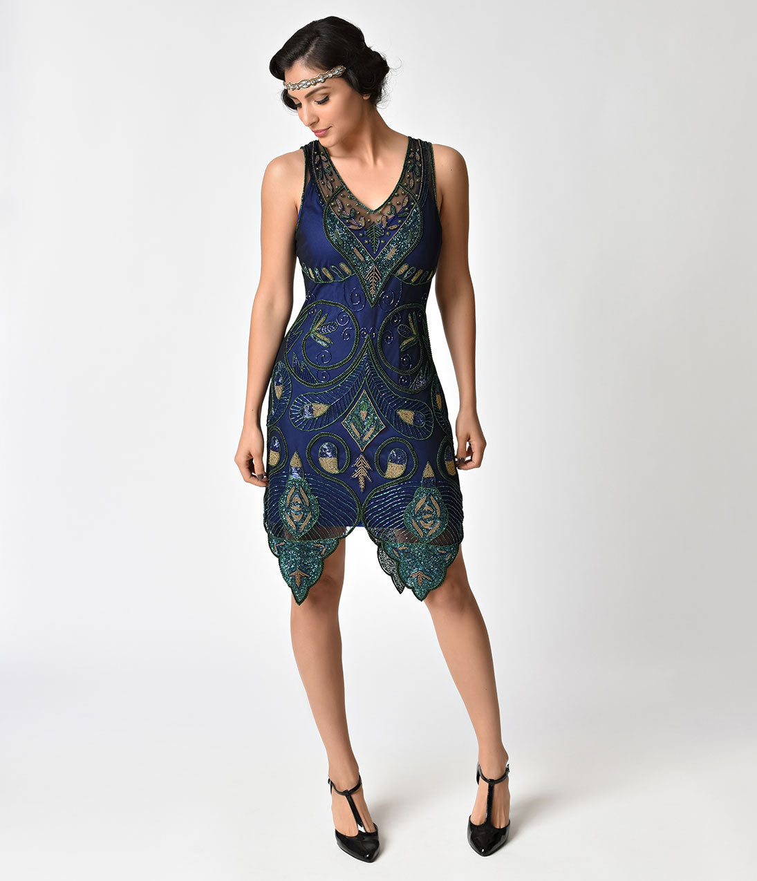 1920s Style Dresses, Flapper Dresses 1920s Style Navy Blue  Green Beaded Emma Flapper Dress $122.00 AT vintagedancer.com