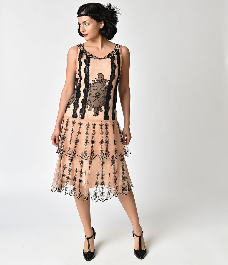 1920s Style Peach & Black Antique Embroidery Sleeveless Flapper Dress