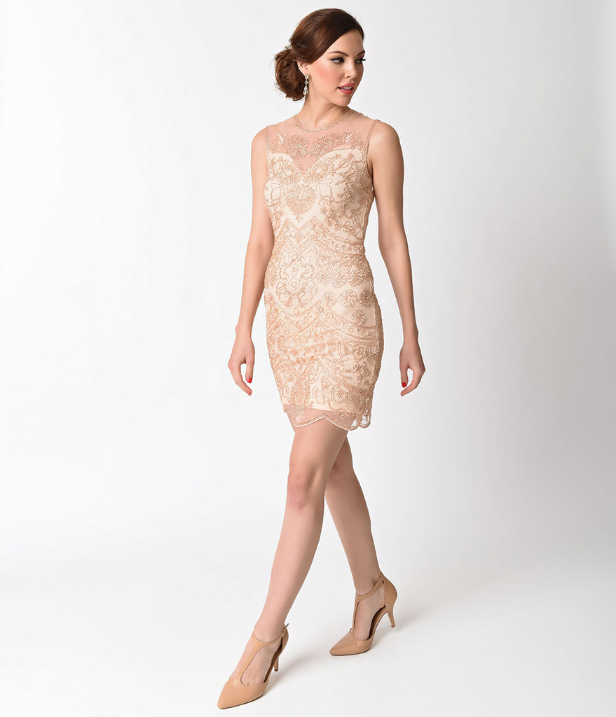 1920s Style Peach Cut Out Illusion Back Beaded Flapper Dress