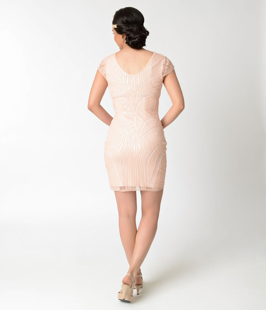 1920s Style Peach & Light Pink Sequin Cap Sleeve Short Flapper Dress