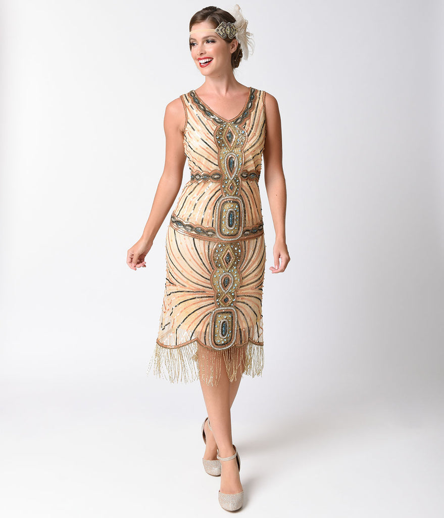 1920s Style Peach & Turquoise Beaded Deco Fringe Flapper Dress ...