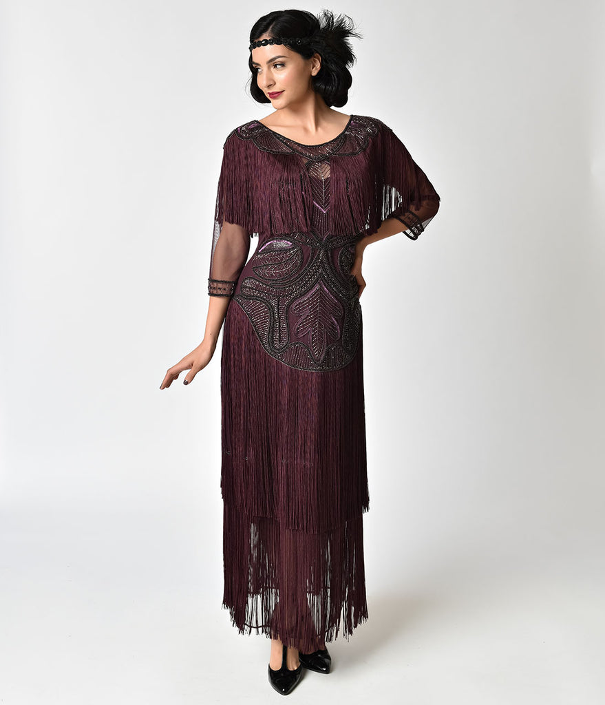 1920s Style Plum Beaded Sleeved Glam Flapper Dress
