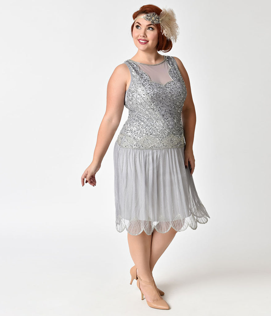 e1042ec0 1920s Style Plus Size Lilac Beaded Drop Waist Elaina Flapper Dress – Unique  Vintage