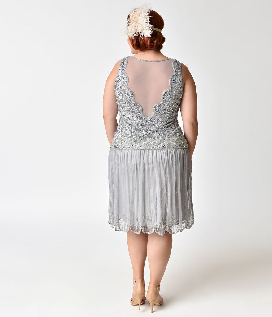 1920s Style Plus Size Lilac Beaded Drop Waist Elaina Flapper Dress