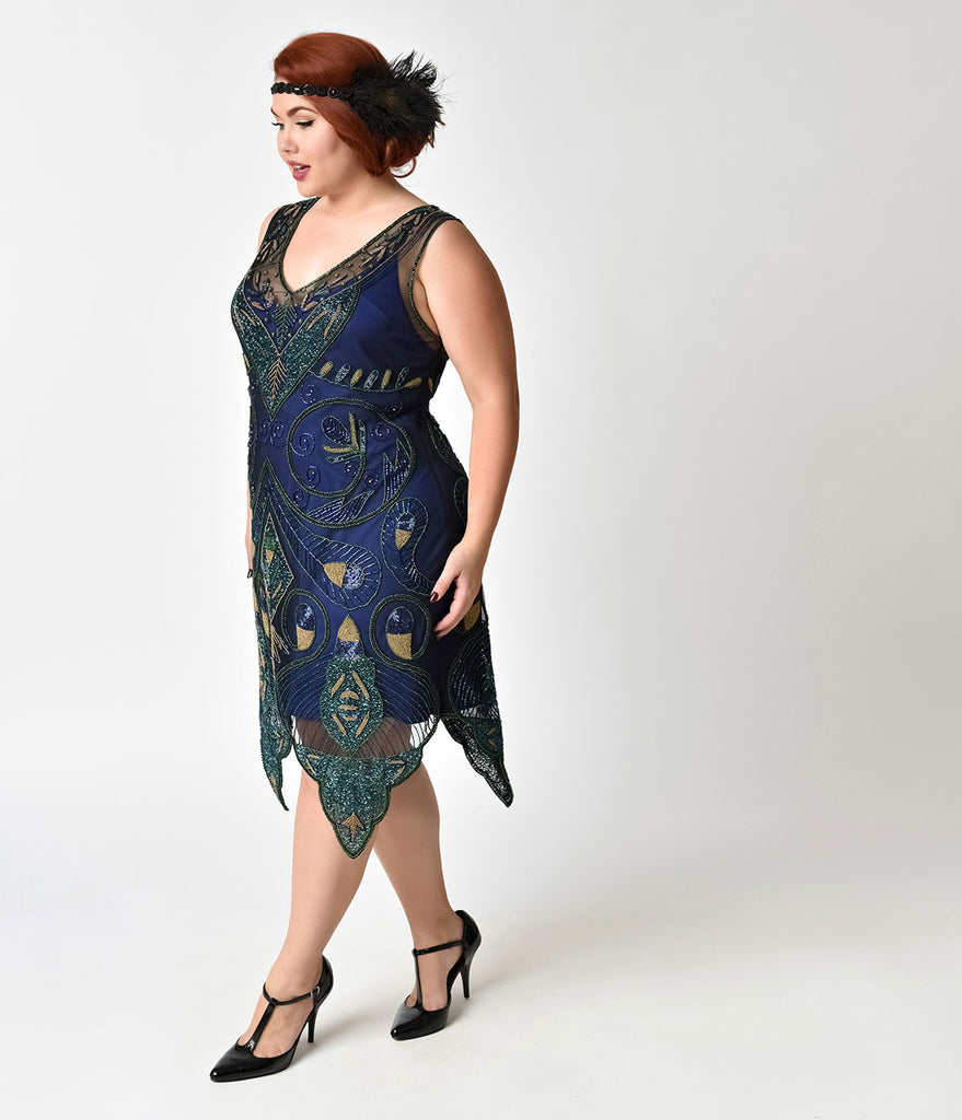1920s Style Plus Size Navy Blue & Green Beaded Emma Flapper Dress