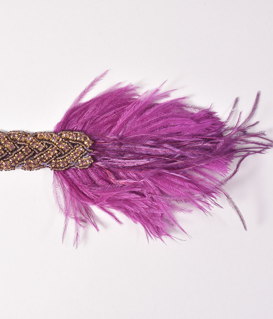 1920s Style Purple Rhinestone & Feather Stretch Mariah Headband