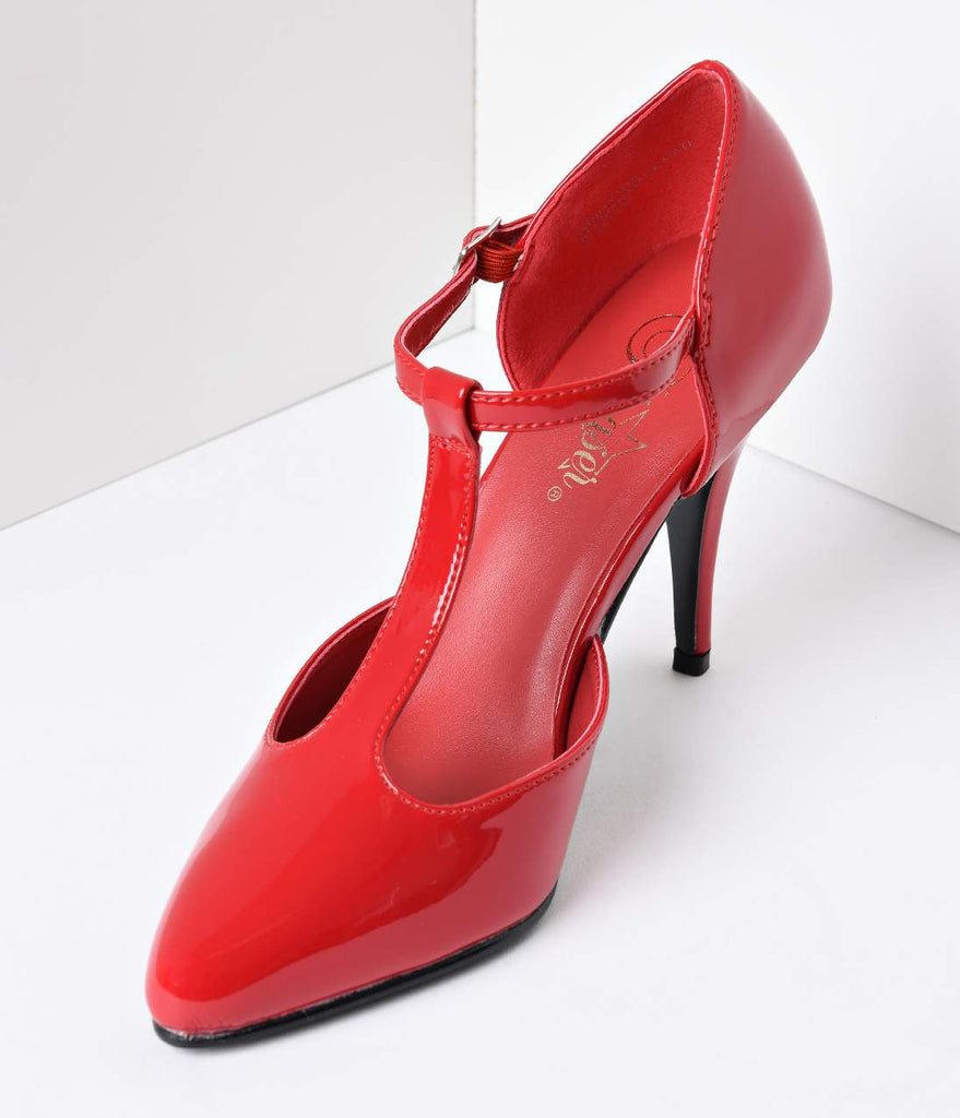 1920s Style Red T-Strap Heels
