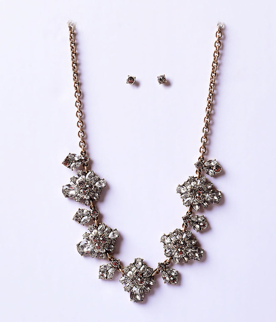 1920s Style Rhinestone & Gold Deco Flower Necklace & Earring Set