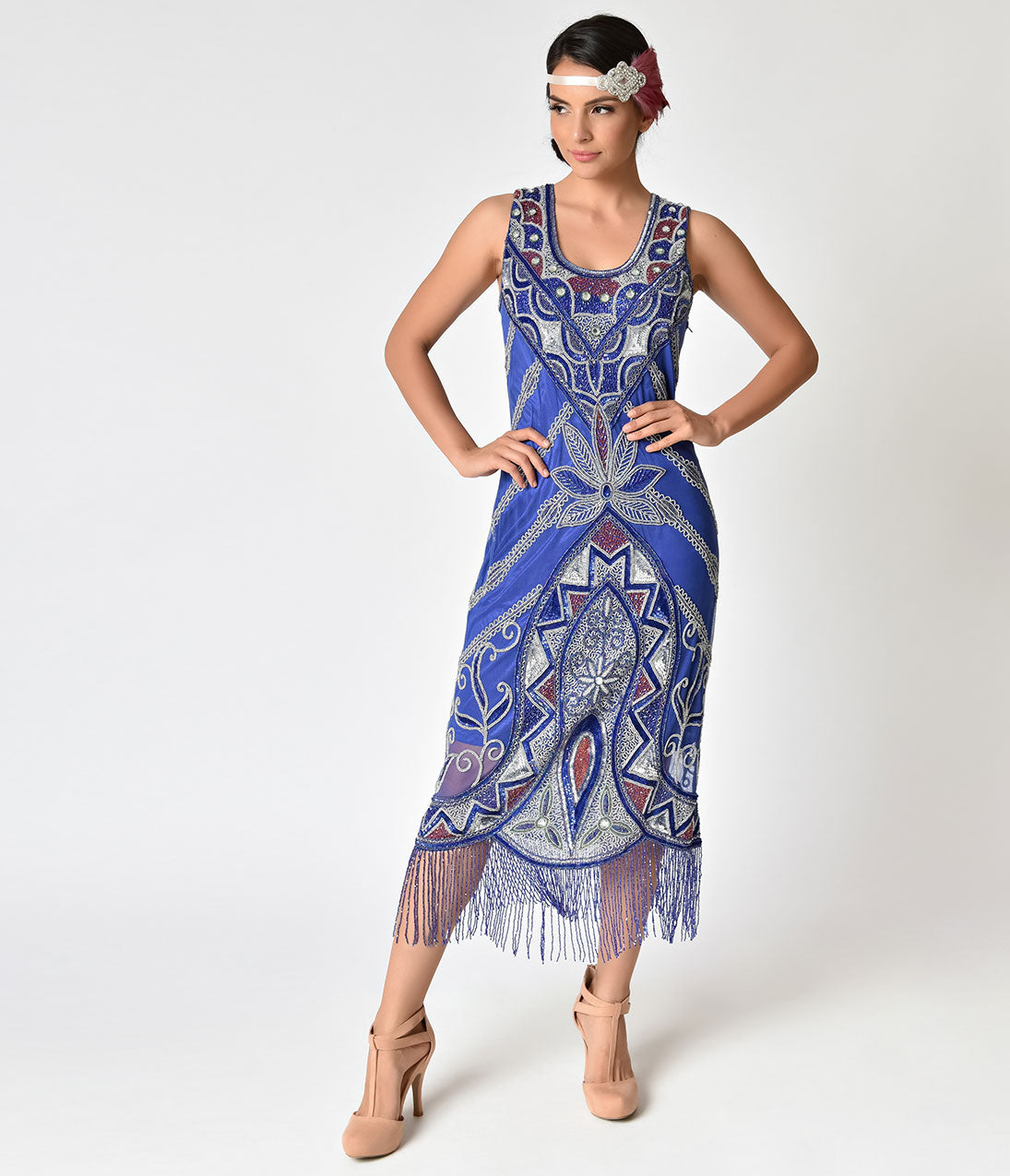 1920s Style Dresses, Flapper Dresses 1920S Style Royal Blue With Fringe  Silver Beading Silk Flapper Dress $245.00 AT vintagedancer.com