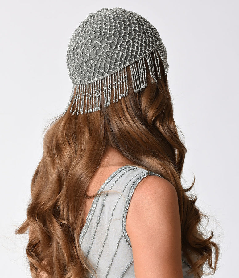 1920s Style Silver Beaded Fringe Flapper Cap