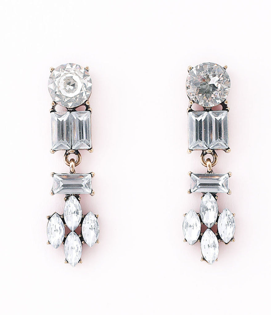 1920s Style Silver Crystal Deco Drop Post Earrings