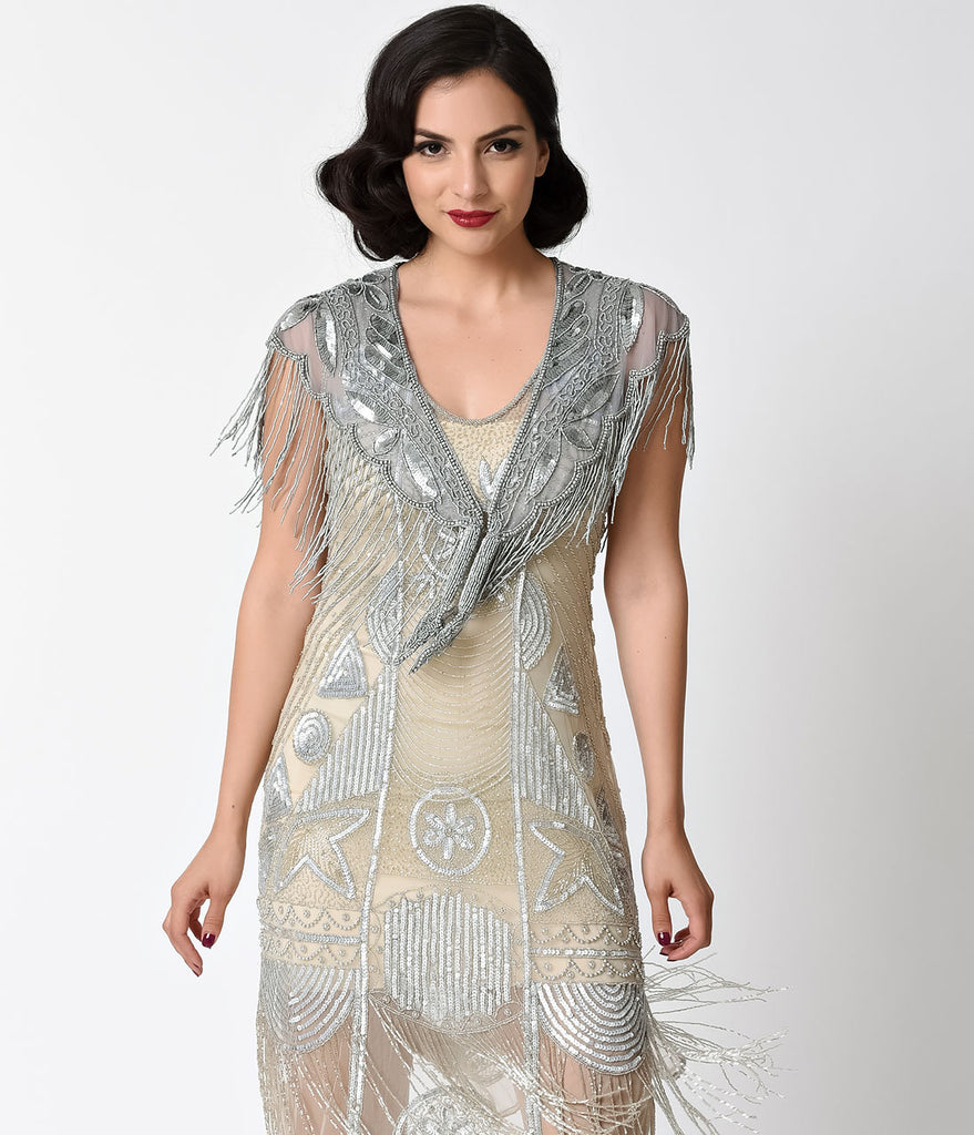 1920s Style Silver Deco Beaded Fringe Capelet