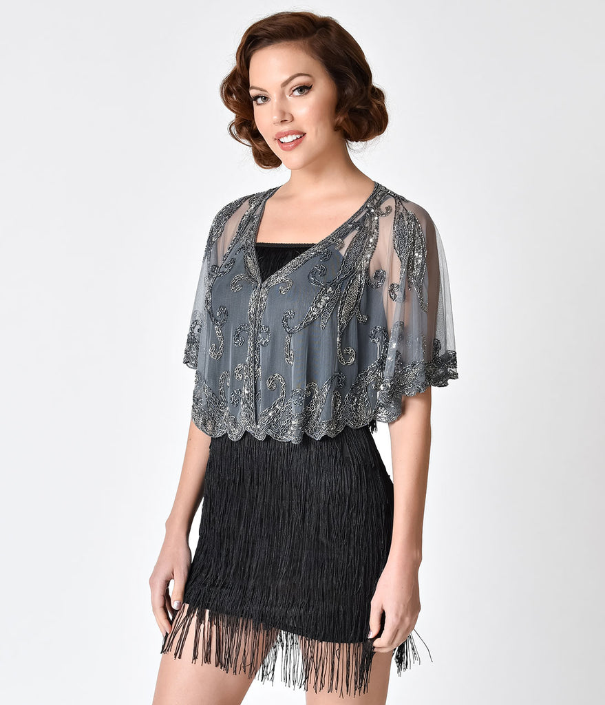 1920s Style Silver Grey Beaded Sheer Mesh Capelet