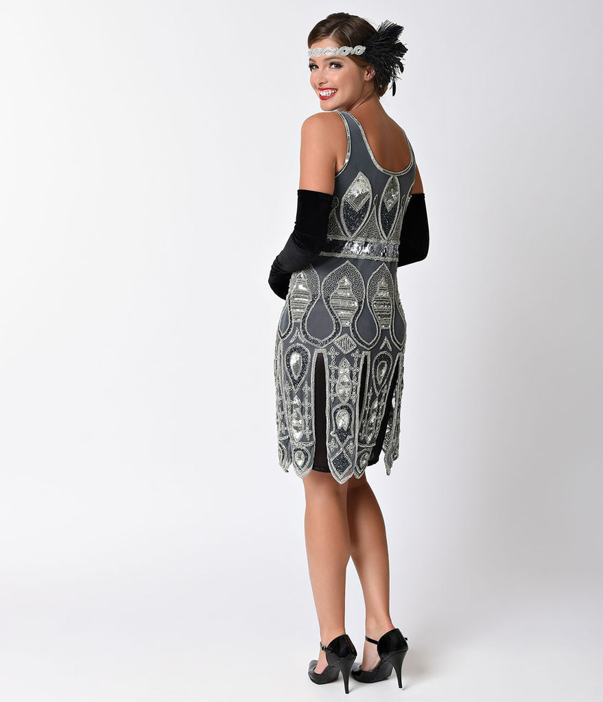 1920s Style Silver & Grey Sleeveless Beaded Flapper