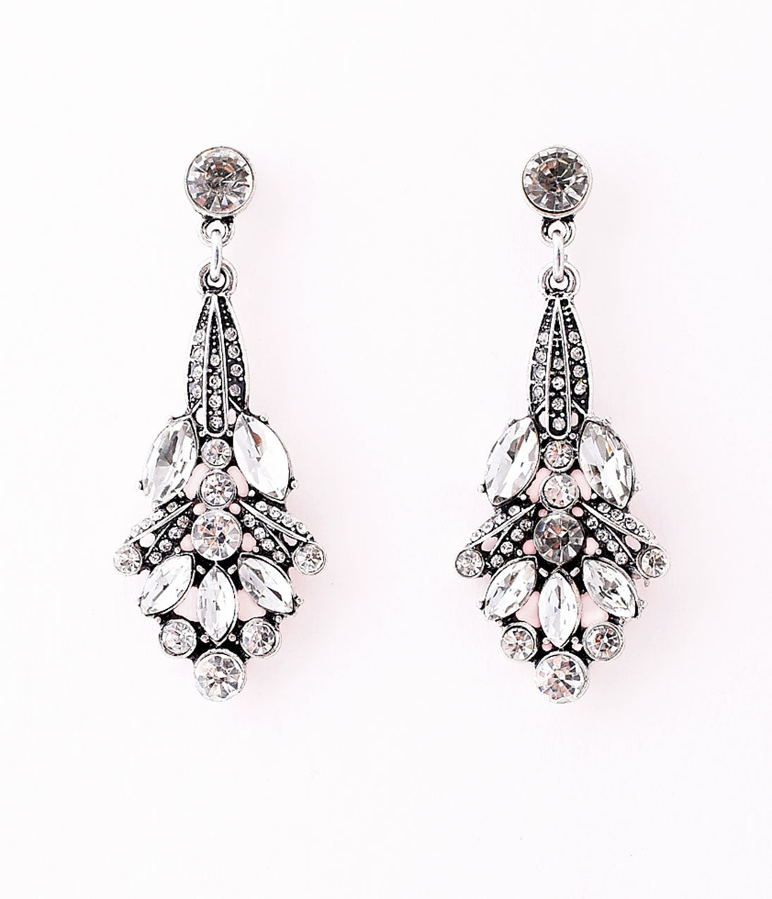 Vintage Style Jewelry, Retro Jewelry 1920S Style Silver Rhinestone Nouveau Flower Drop Earrings $34.00 AT vintagedancer.com
