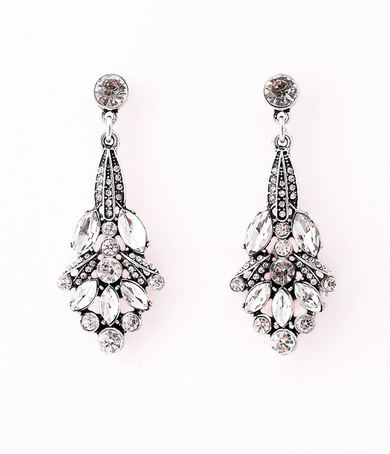 1920s Style Silver Rhinestone Nouveau Flower Drop Earrings