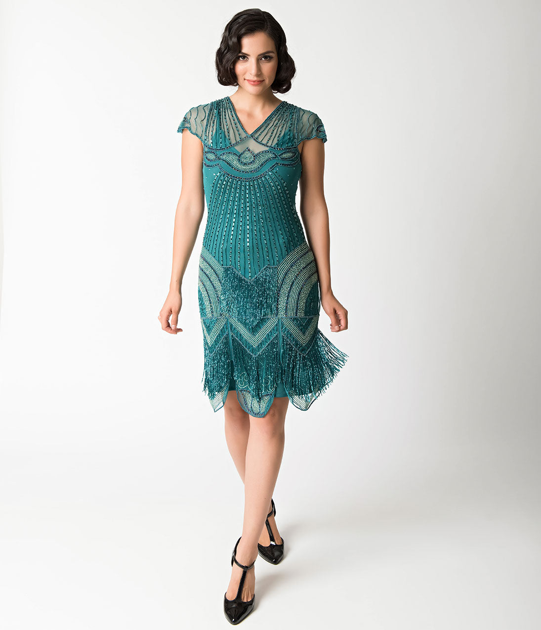 1920s Style Dresses, Flapper Dresses 1920s Style Teal Beaded Deco Cap Sleeve Beatrice Flapper Dress $166.00 AT vintagedancer.com