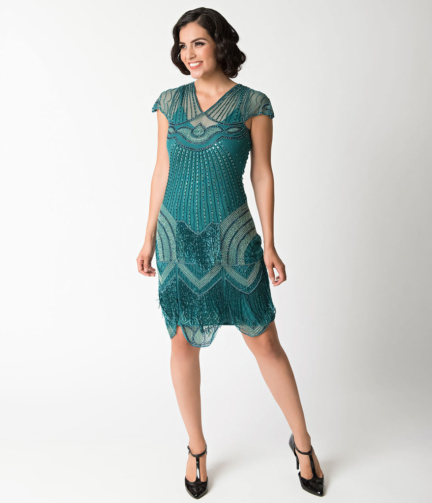 1920s Style Teal Beaded Deco Cap Sleeve Beatrice Flapper Dress