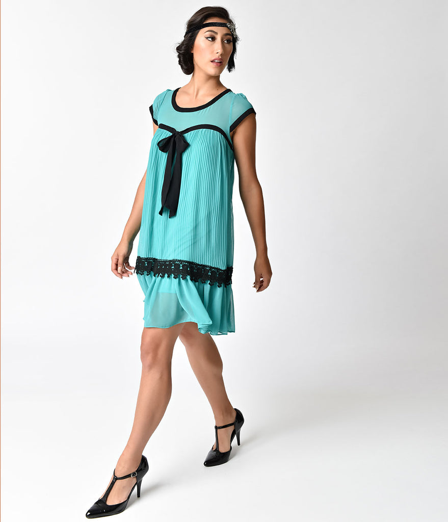 1920s Style Teal & Black Cap Sleeve Flapper Day Dress