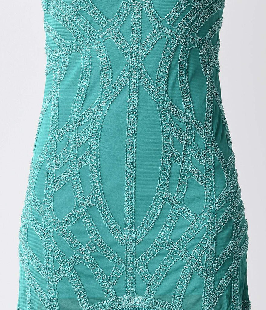 1920s Style Teal Green Beaded Fringe Flapper Dress