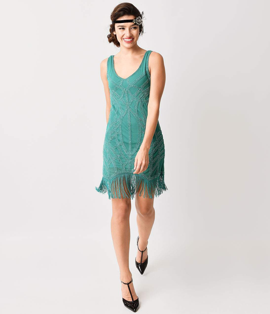 1920s Evening Dresses & Formal Gowns 1920S Style Teal Green Beaded Fringe Flapper Dress $78.00 AT vintagedancer.com