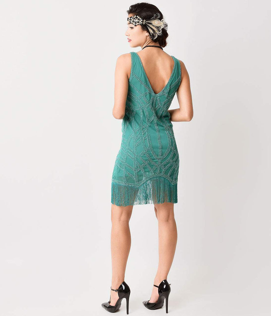 1920s Style Teal Green Beaded Fringe Flapper Dress – Unique Vintage