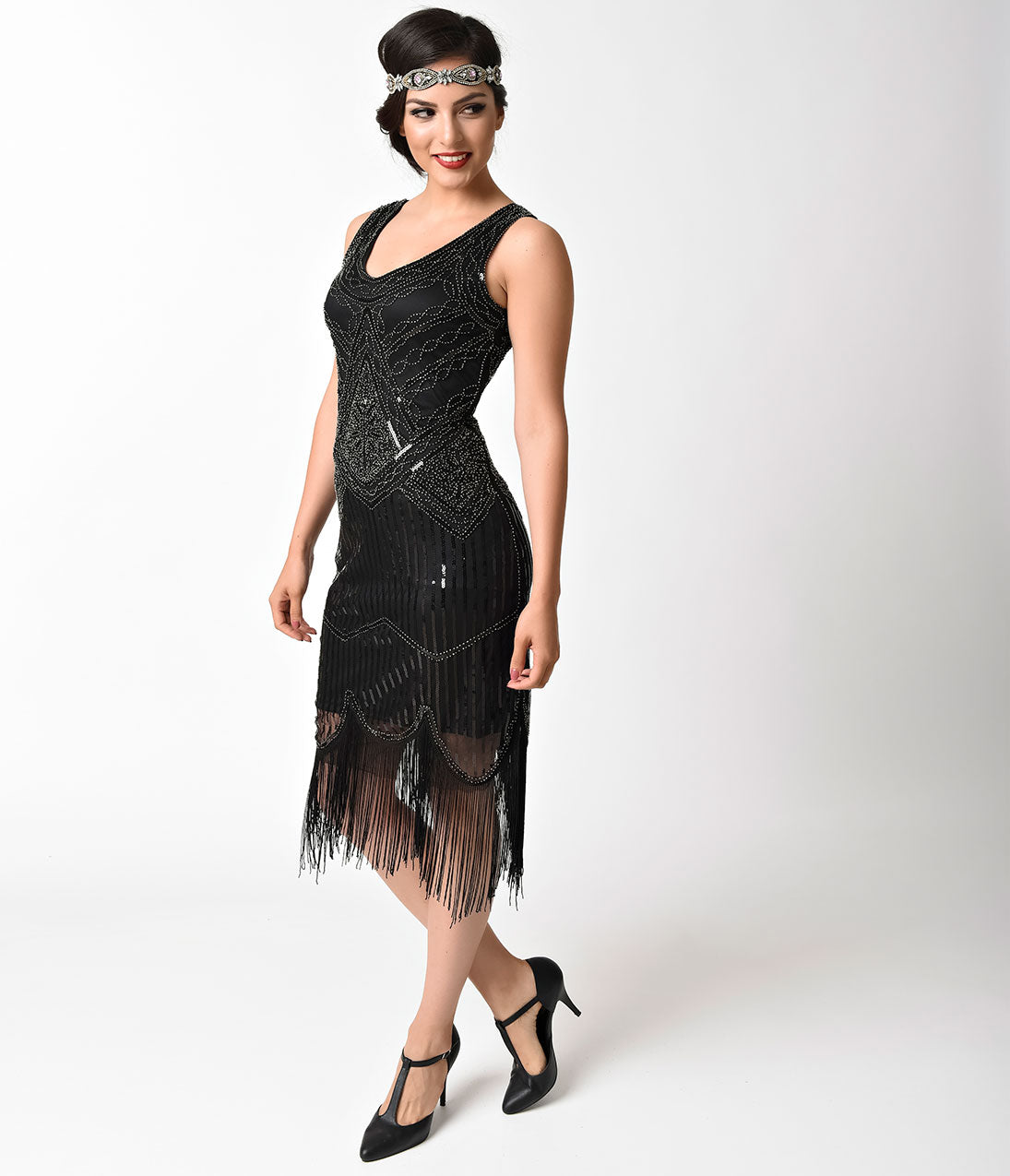 1920s Style Dresses, Flapper Dresses 1920S Vintage Style Black  Silver Beaded Sleeveless Fringe Flapper Dress $88.00 AT vintagedancer.com