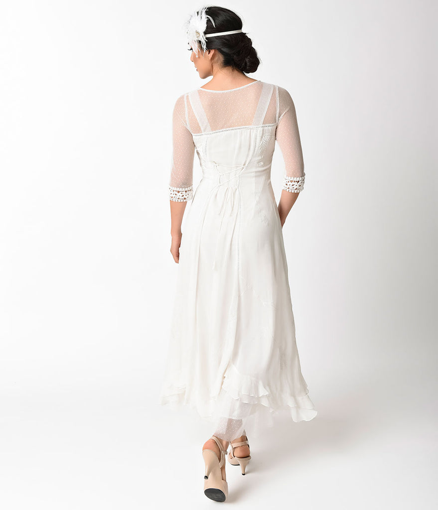 1930s Vintage Style Ivory Tulle Vivian Sleeved Dress