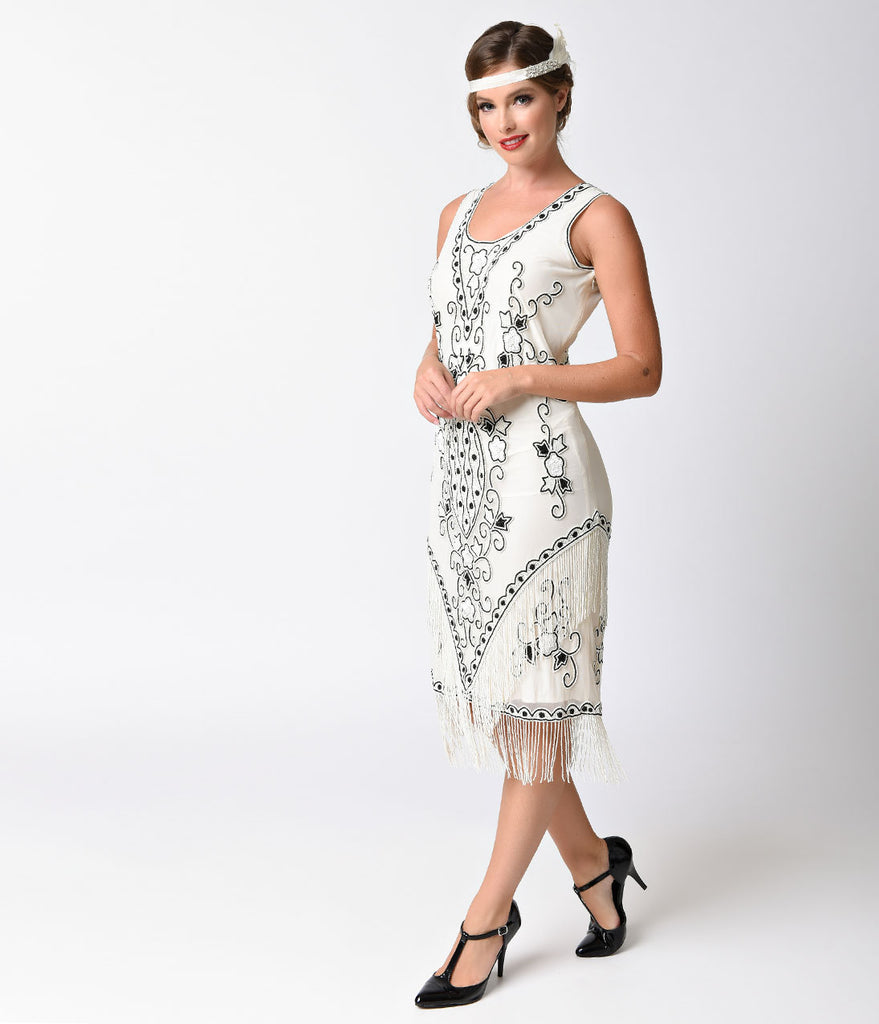 1930s Ivory & Black Beaded Embroidered Mesh Deco Flapper