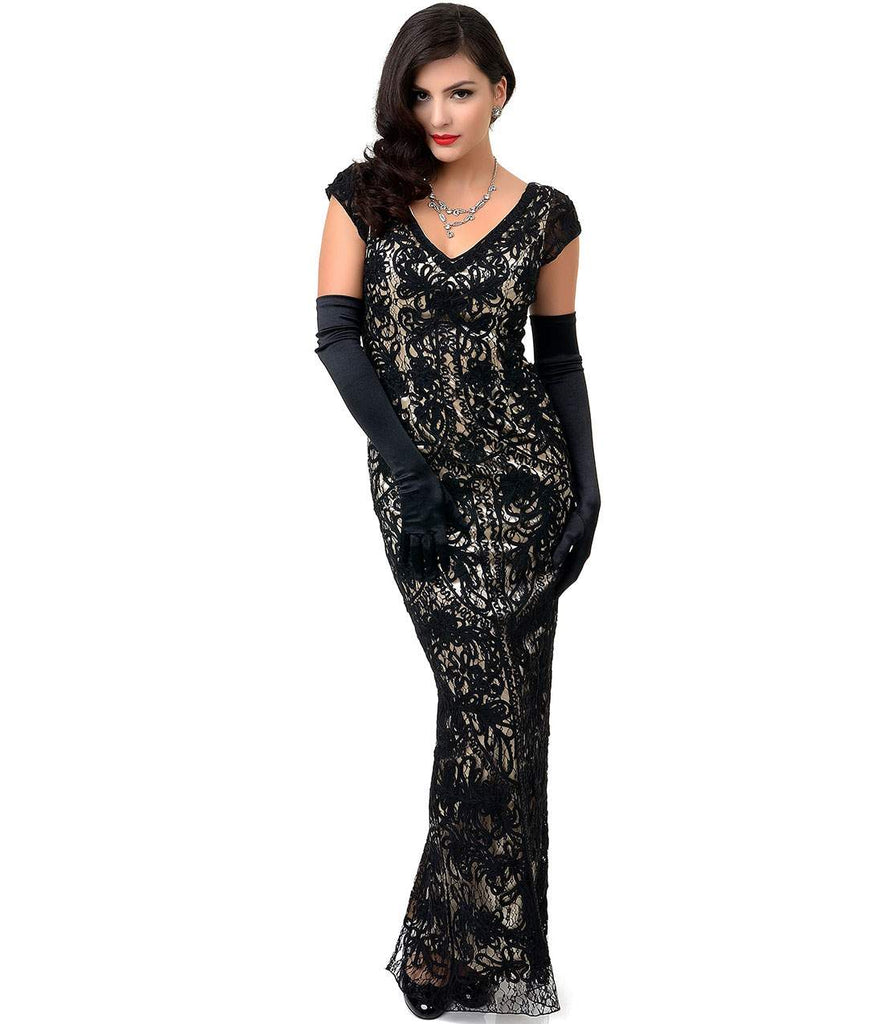 1930s Style Black & Nude Lace Cap Sleeve Fitted Gown