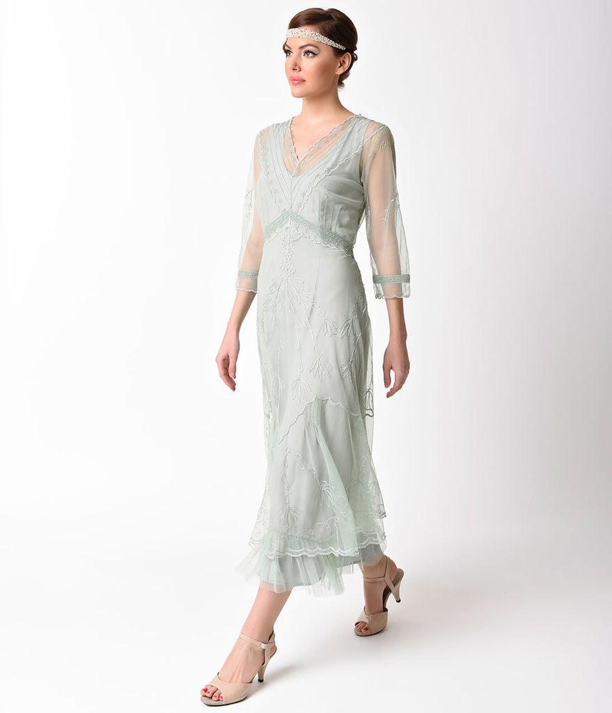 1930s Style Mint Three-Quarter Sleeve Embroidered Tulle Tea Length Dress