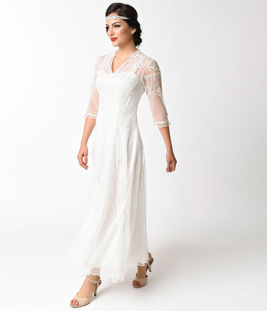 1930s Vintage Style Ivory Tulle Sleeved Dress
