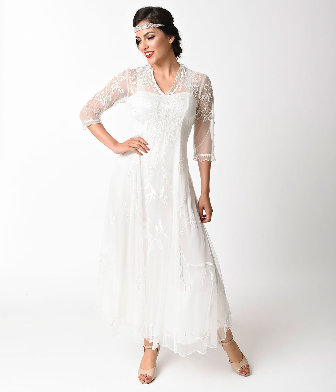 1920s Style Dresses, Flapper Dresses 1930S Vintage Style Ivory Tulle Sleeved Dress $348.00 AT vintagedancer.com