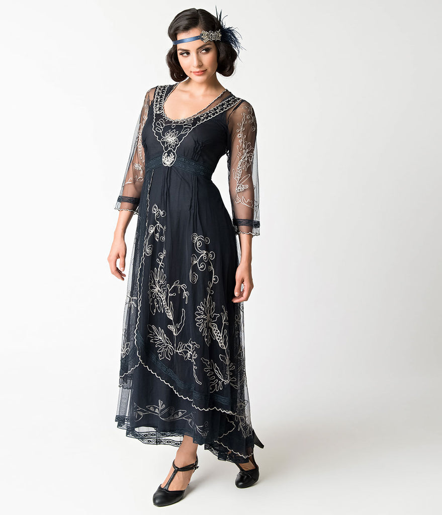 1930s Vintage Style Navy & White Sleeved Sapphire Long Dress ...