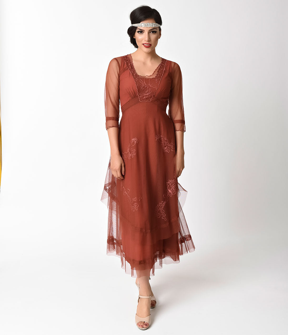 1920s Style Dresses, Flapper Dresses 1930S Vintage Style Tan Tulle Sleeved Long Dress $252.00 AT vintagedancer.com