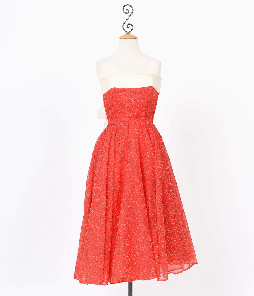 1940s Red Swiss Dot Strapless Vintage Prom Dress