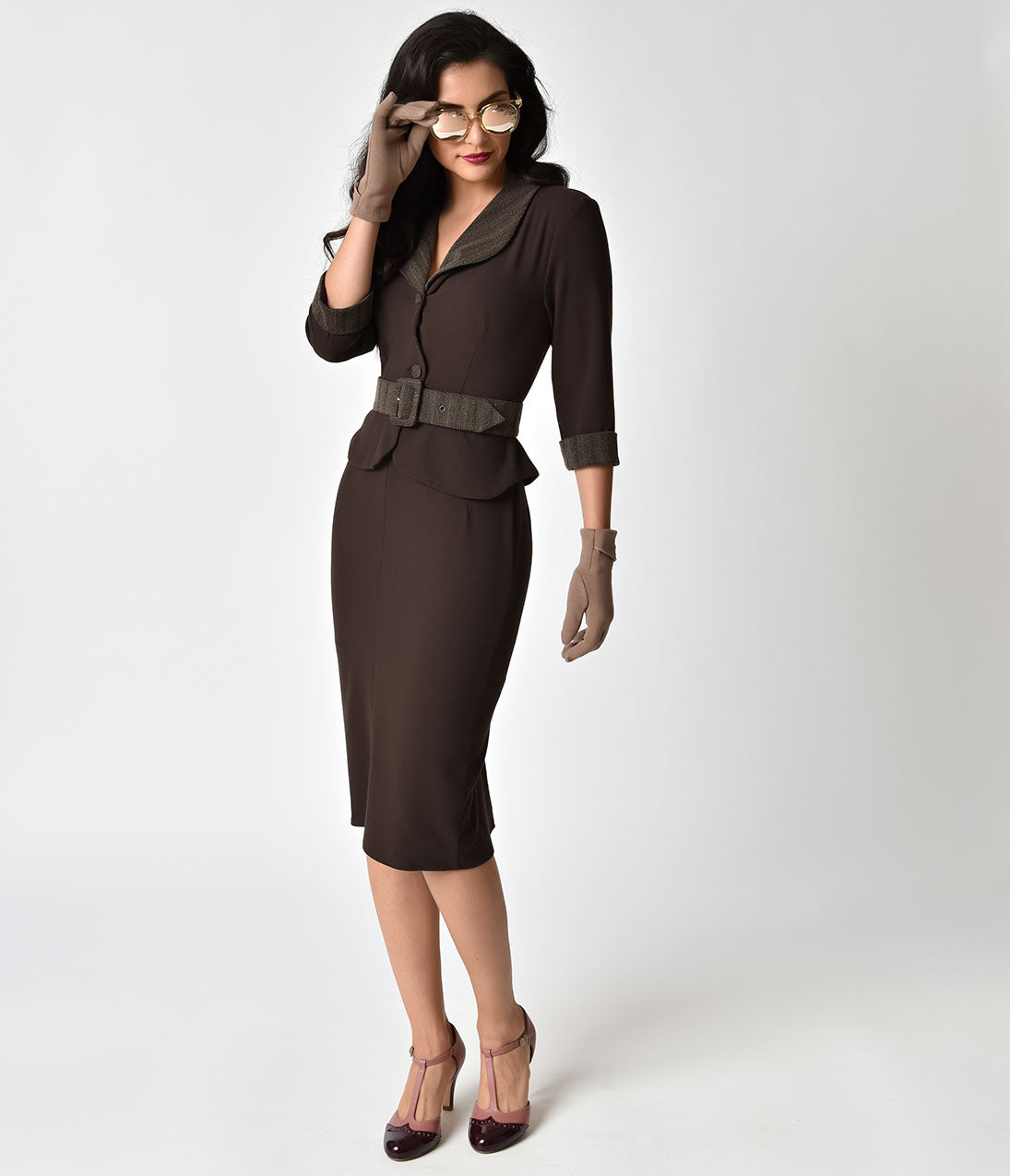 Women's 1940s Victory Suits and Utility Suits Miss Candy Floss 1940S Style Agent Carter Inspired Brown Gunni Dora Suit Dress $152.00 AT vintagedancer.com