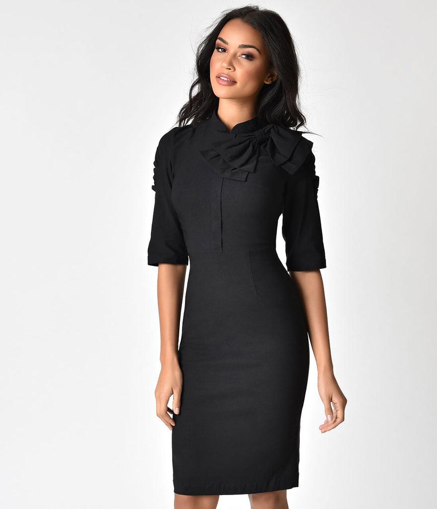 1940s Style Black Cotton Stretch Half Sleeve Wiggle Dress