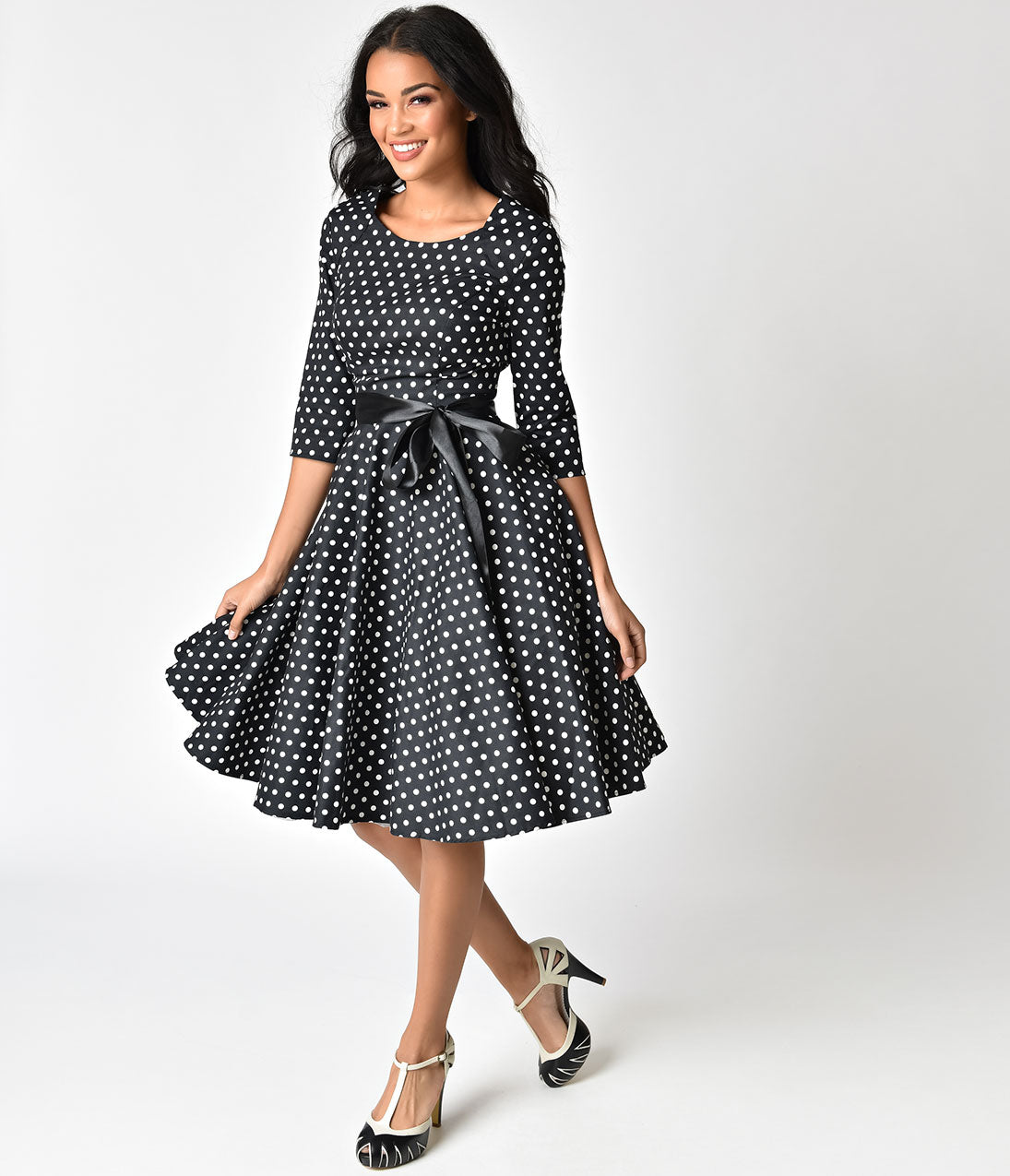 1940s Style Dresses | 40s Dress, Swing Dress 1940s Style Black  White Polka Dot Cotton Sleeved Swing Dress $92.00 AT vintagedancer.com