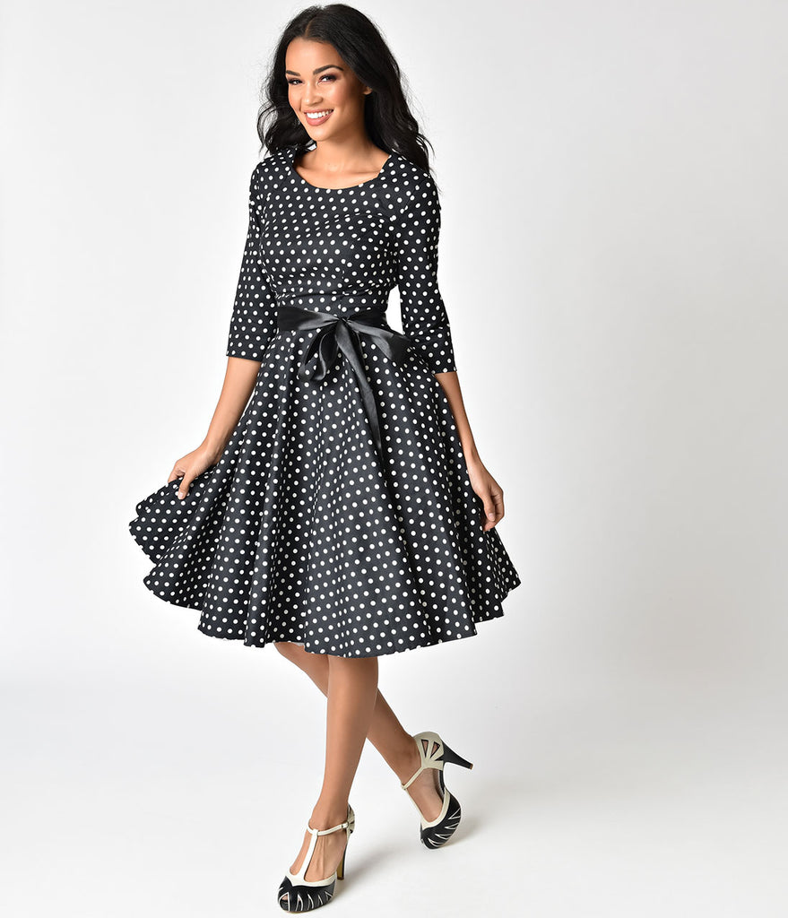 1940s Style Black & White Polka Dot Cotton Sleeved Swing Dress