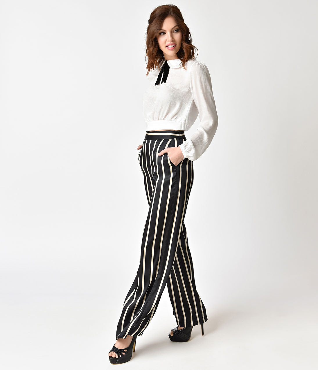 Vintage High Waisted Trousers, Sailor Pants, Jeans Black  White Striped Wide Leg Pants $46.00 AT vintagedancer.com