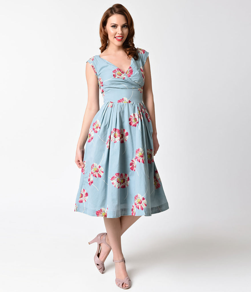 1940s Style Dusty Blue & Floating Daisies Cotton Florence Swing Dress