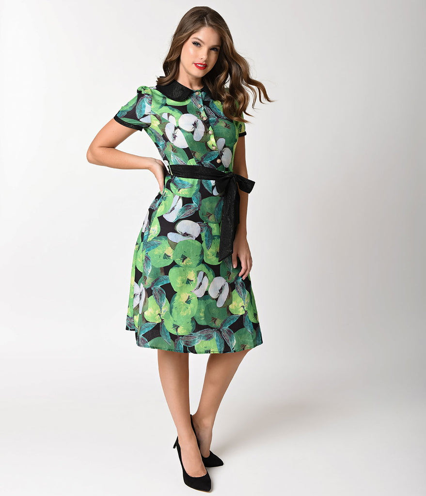 1940s Style Green Apple Print Short Sleeve Collar Flare Dress