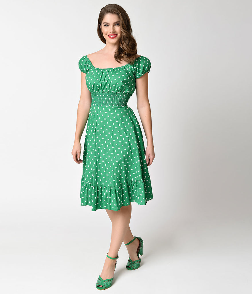 1940s Style Kelly Green & White Dot Cap Sleeve Peasant Swing Dress