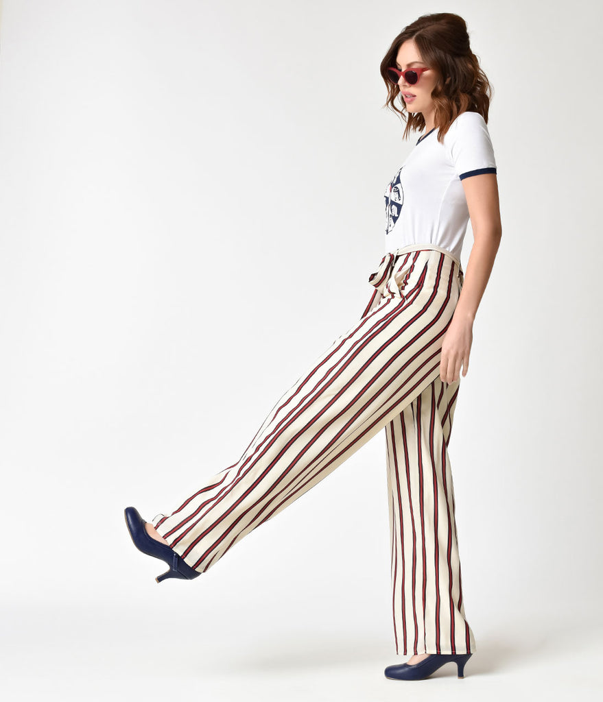 1940s Style White & Red Striped Wide Leg Pants