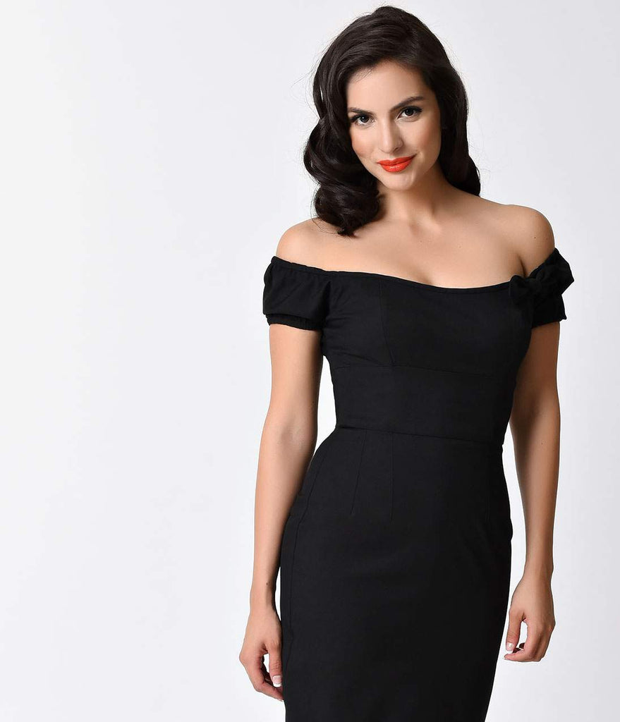 Glamour Bunny 1950s Black Off Shoulder Brigitte Wiggle Dress