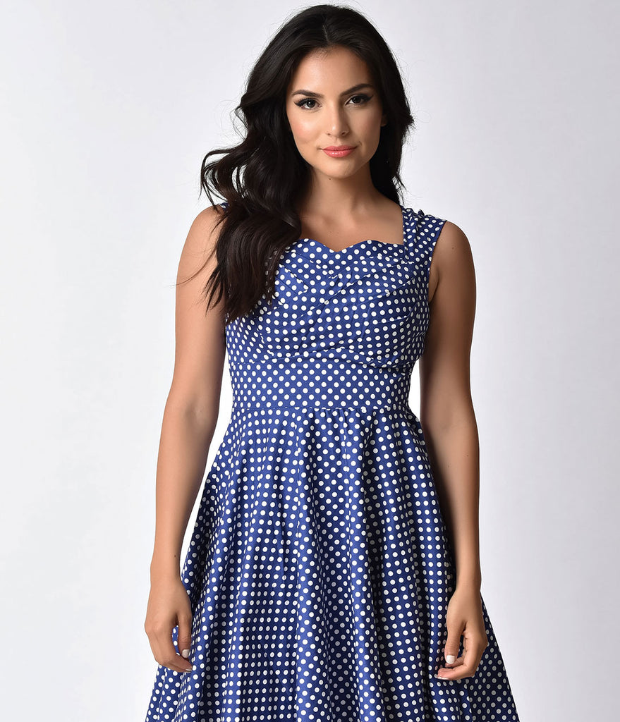 1950s Pin-Up Navy & White Polka Dot Sweetheart Swing Dress