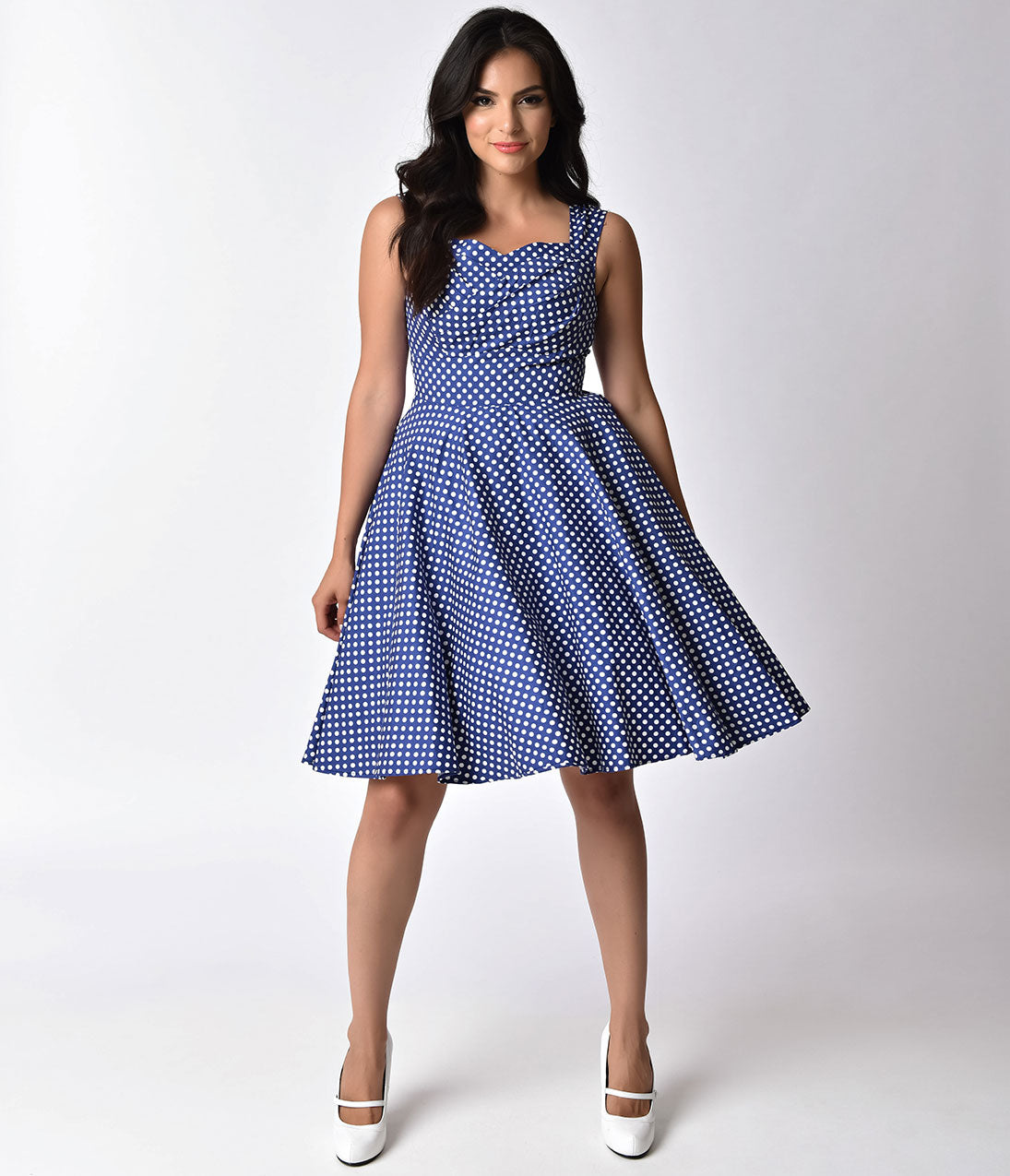 Vintage Polka Dot Dresses – 50s Spotty and Ditsy Prints 1950s Pin-Up Navy  White Polka Dot Sweetheart Swing Dress $74.00 AT vintagedancer.com